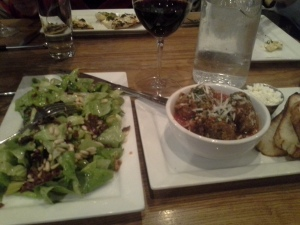 A Tavola's Cinghiale meatballs and salad.